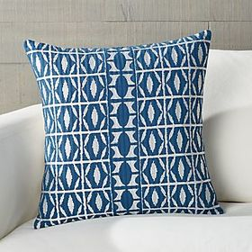 Crate Barrel Seneca Blue Patterned Pillow 18""