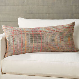 "Crate Barrel Doshi Plaid Lumbar Pillow 36""x16"""