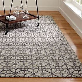 Crate Barrel Rhea Graphite Lattice Pattern Rug