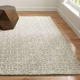 Crate Barrel Rhea Dove Lattice Pattern Rug