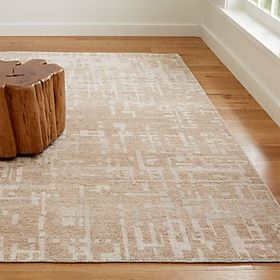 Crate Barrel Celosia Natural Hand Knotted Rug