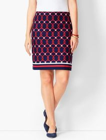 Talbots Rope Print Canvas Stretch Skirt