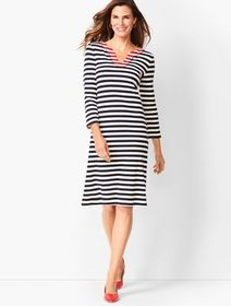 Talbots Trimmed Cotton Knit Shift Dress - Stripe