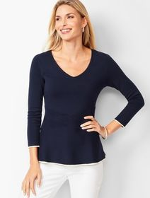 Talbots Tipped Peplum Sweater