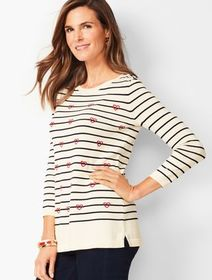 Talbots Hearts & Stripes Crewneck Sweater