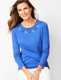 Talbots Embellished Sailboat Sweater
