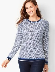 Talbots Button-Shoulder Crewneck - Geo-Print