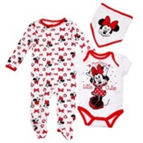DISNEY Baby Girls Red Minnie Mouse Footie with Bod