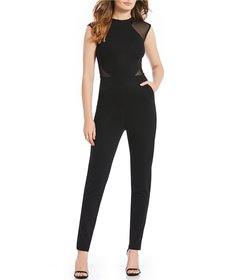 French Connection Viven Mesh Cutout Fitted Jumpsui