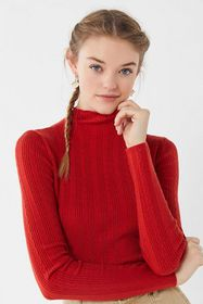 UO Drew Cable Knit Mock-Neck Sweater