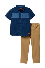 7 For All Mankind Button Up Shirt & Pants Set (Tod