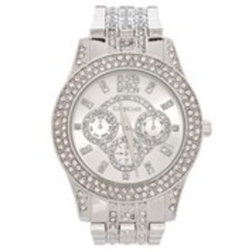 BEBE Womens Pave Crystal Chronograph Bracelet Watc