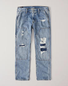 Straight Carpenter Jeans, RIPPED MEDIUM WASH WITH