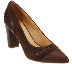 C. Wonder Leather & Suede Pumps with Woven Detail