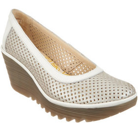 FLY London Perforated Leather Wedge Pumps - Yobe -