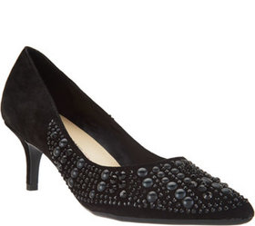 Isaac Mizrahi Live! Suede Pumps with Embellishment