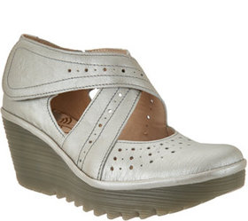 FLY London Leather Cross-strap Mary Janes - Yepe -