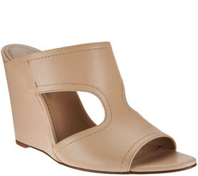 H by Halston Open-Toe Cut-Out Leather Mules - Holl