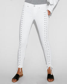 Express mid rise white lace-up ankle jean leggings