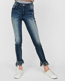 Express super high waisted denim perfect raw hem a