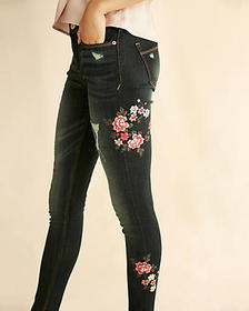 Express mid rise floral embroidered dark wash jean
