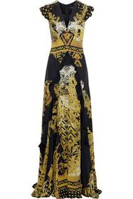 ETRO Ruffle-trimmed printed silk gown
