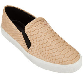 H by Halston Snake Embossed Leather Slip-On Sneake