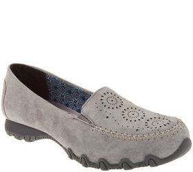 Skechers Suede Laser Cut Slip On Shoes - Expresswa