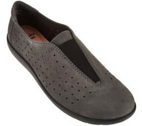 """""""As Is"""" Clarks Perforated Nubuck Leather Slip-On S"""