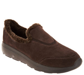 """As Is"" Skechers GOwalk Suede Faux Fur Shoes- Capt"