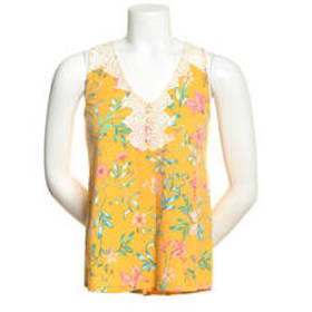 Juniors Self Esteem Crochet Trim Floral Tank Top -