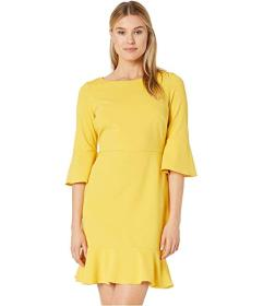Nine West Drapey Crepe Bell Sleeve Dress with Ruff