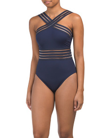 KENNETH COLE Cross Neck Illusion One-piece Swimsui
