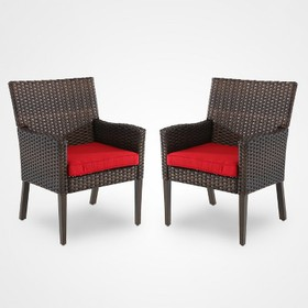 Halsted 2-Pack Wicker Patio Dining Chair with Arms