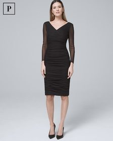 Petite Instantly Slimming Ruched Black Sheath Dres