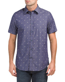 BEN SHERMAN Short Sleeve Palm Tree Line Woven Top