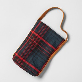 Wine Tote Plaid Leather Handle - Blue/Red - Hearth