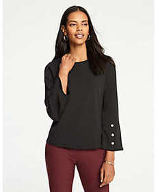 Petite Button Flare Sleeve Top