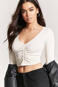 Forever21 Ribbed Knit Ruched Crop Top