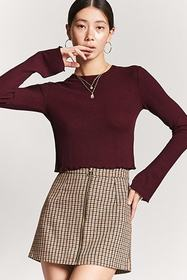 Forever21 Ribbed Lettuce-Edge Crop Top