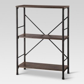 """37.8"""" Mixed Material 2 Shelf Bookcase Brown - Thre"""