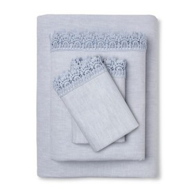 Cotton Embroidered Hem Solid Sheet Set - Simply Sh