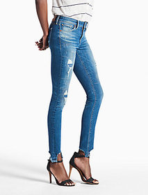 Lucky Brand Ava Mid Rise Skinny Jean With Chewed H