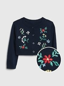 Floral Embroidered Cardigan Sweater