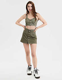 American Eagle AE Button Front Crop Top