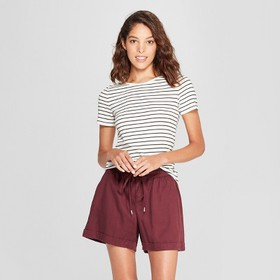 Women's Striped Short Sleeve Fitted Crew T-Shirt -