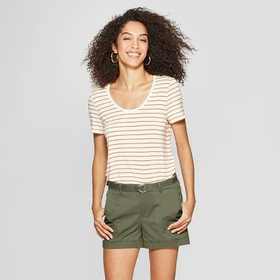 Women's Striped Any Day Short Sleeve Scoop Neck T-