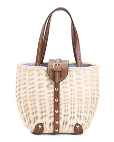 C & C CALIFORNIA Natural Studded Rattan Bucket Pic