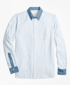 Brooks Brothers Chambray-Trim Striped Cotton Oxfor