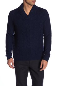 Brooks Brothers Shawl Collar Cable Knit Wool Pullo